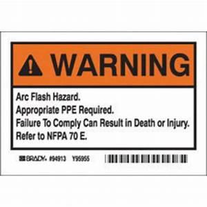 Airgas brd94913 bradyr 3 1 2quot x 5quot black polyester arc for Danger arc flash labels