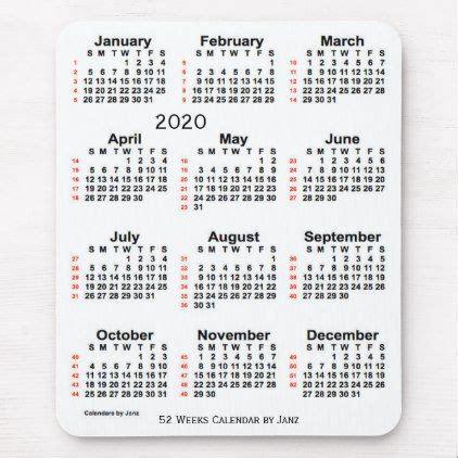 2020 Large Print White 52 Week Calendar by Janz Mouse Pad ...
