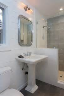 Small Corner Bathroom Sink With Pedestal by Nautical Bathroom Cottage Bathroom Eric Aust Architect