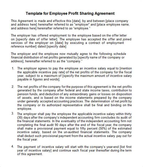 profit sharing agreement templates