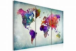 Tableau Moderne Coloré : impression sur toile monde color cartes du monde tableaux ~ Teatrodelosmanantiales.com Idées de Décoration