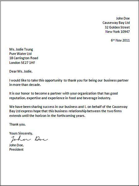 ideas  formal business letter format