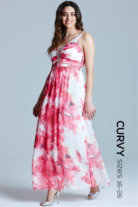 pink floral embellished strap maxi dress