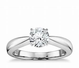 classic tapered four claw solitaire engagement ring in 14k With tapered wedding ring