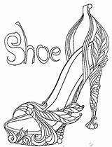 Coloring Pages Shoes Adult Heels Shoe Heel Sheets Colouring Fairy Adults Books Paint Popular sketch template
