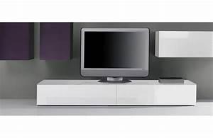 Meuble Tv Blanc Laqué : meuble tv bas laque blanc ~ Teatrodelosmanantiales.com Idées de Décoration
