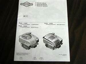 Briggs  U0026 Stratton Small Ohv Engine Operator U0026 39 S Manual Model