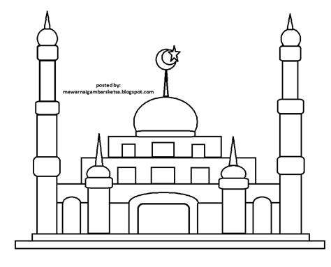 mewarnai gambar mewarnai gambar sketsa masjid 23