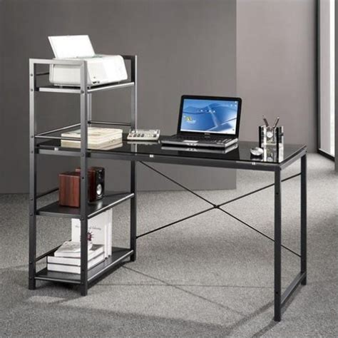 tempered glass computer desk tempered glass laptop desk in black and smokey grey rta