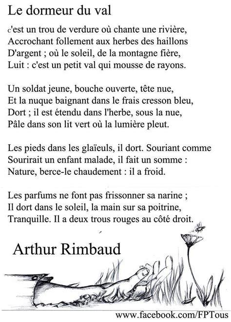 Poème Dormeur Du Val by Rimbaud Le Dormeur Du Val Fran 231 Ais Po 232 Mes