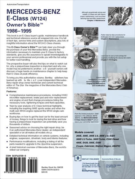 automotive service manuals 1986 mercedes benz e class parental controls back cover mercedes benz repair manual mercedes benz e class w124 owner s bible 1986 1995