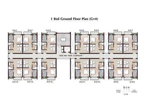 1 Bhk Home Design Plan : 1 Bhk Apartment In Joka (g + 4) Plan, Ground Floor