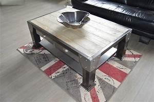 Table Basse Bois Industriel : emejing table de salon industriel ideas awesome interior home satellite ~ Teatrodelosmanantiales.com Idées de Décoration