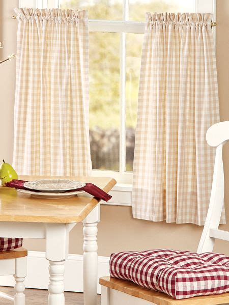 checkered rod pocket curtain tiers vermont country store