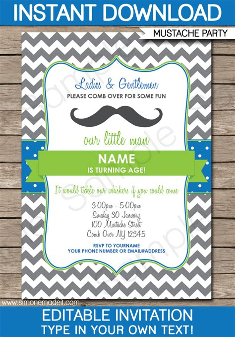 mustache party invitations  man party birthday party