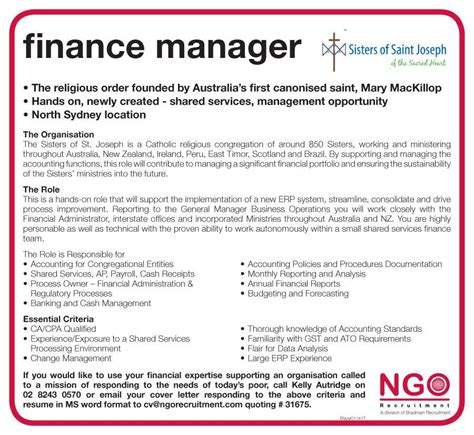 financial management and administration doitt cover letter ngo recruitment finance manager and administration