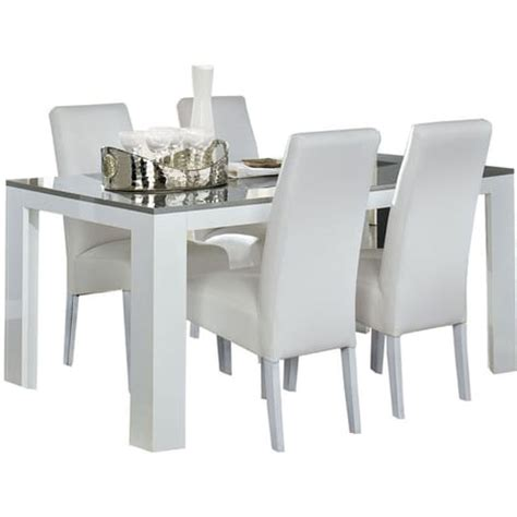 table salle 224 manger blanc et gris taupe laqu 233 lita pas cher 224 prix auchan