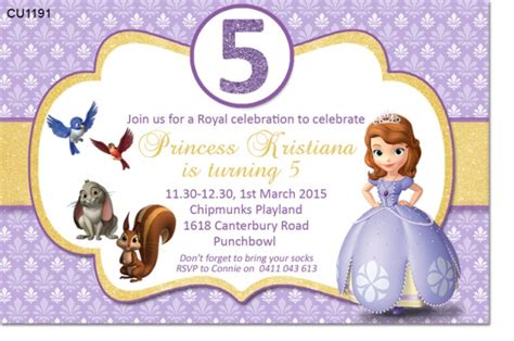 sofia the free invitation templates cu1191 sofia the birthday invitation themed birthday invitations