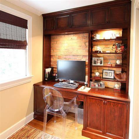 home custom built cherry wood desk  exposed brick wall