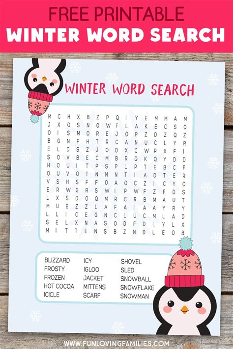 winter word search free printable kids activity fun loving families