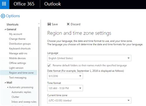 how do i change the language in office 365 s outlook