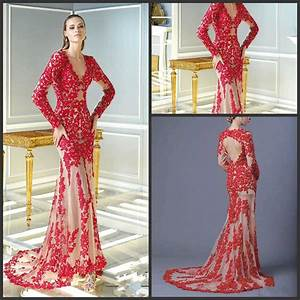 china 2015 prom gowns full sleeve red lace evening dress With long sleeve cocktail dress for wedding