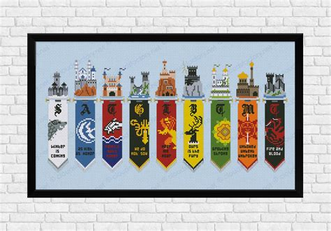game  thrones houses banners digital cross stitch
