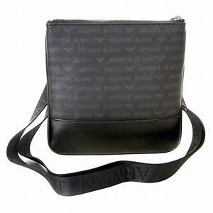 Armani Jeans mens black logo small messenger bag AJM2473 at Togged Clothing