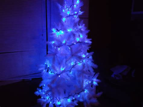 white christmas tree with blue lights j ranch christmas tree blues