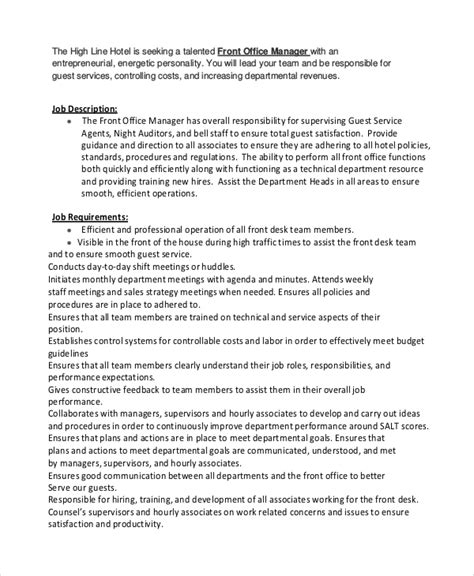 front desk officer duties and responsibilities sle office manager job description 9 exles in pdf