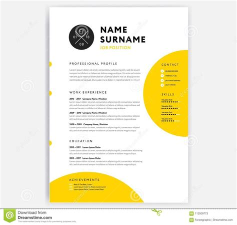 yellow cv resume template curriculum vitae sample vector