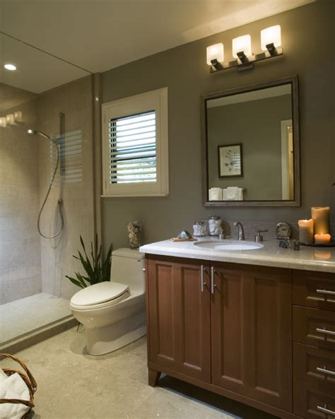 Modern Bathroom With Light Brown Cabinets! Pix Please
