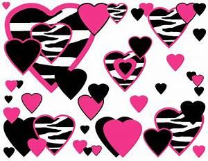 Hot Pink Hearts Wall Decals (Zebra Print, Teen Girl Wall ...