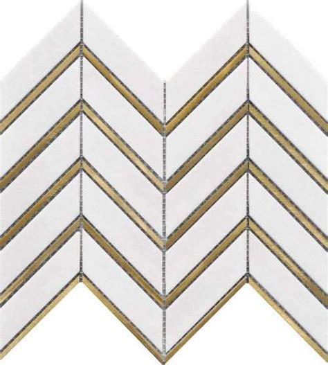 inlay brass gold chevron white tile mineral tiles