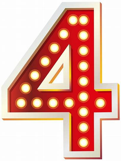 Number Four Clip Lights Clipart Numbers Decorative