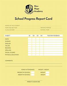free school progress report card template in adobe With summer school progress report template