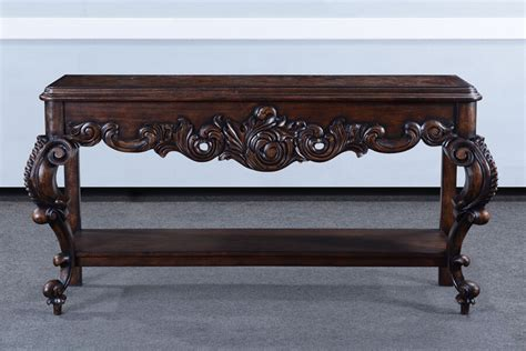 Baroque Carved Console Table Sofa Table Walnut Stained