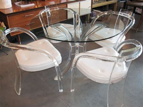 metro modern lucite glass table four lucite chairs