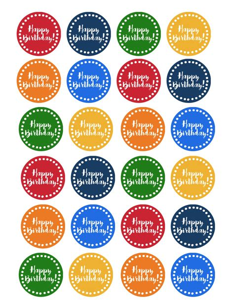 happy birthday cupcake toppers  printable paper