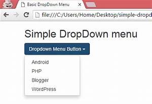 Create simple basic DropDown menu using bootstrap classes ...