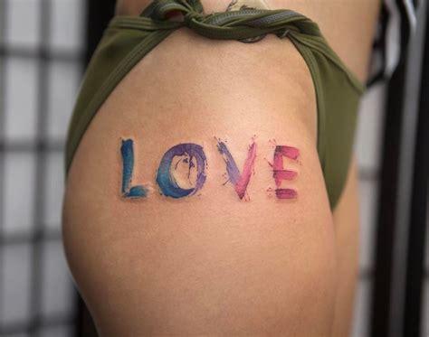 Love  Watercolor Hip Tattoo  Best Tattoo Design Ideas