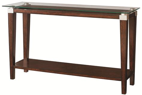 Contemporary Sofa Table With Glass Top By Hammary Wolf