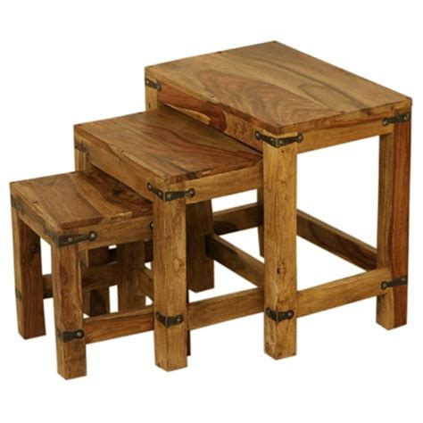 wooden nested stools vintage set   wooden stools