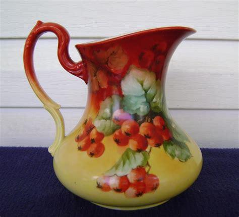 limoges antique pitcher rubylane currants handpainted pottery painted hand porcelain antiques painting lane