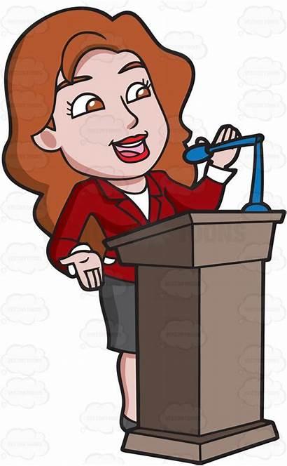 Clipart Woman Speaks Speaker Podium Speaking Behind
