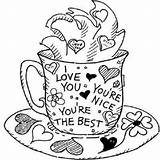 Coloring Pages Sheets Grandparents Greeting Card Printable Crafts Valentine Coffee Adult Cards Colouring Clipart Friends Heart Cup Howstuffworks Valentines Presents sketch template