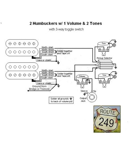 wiring two humbuckers with one volume and two tone