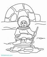 Coloring Eskimo Igloo Pages Preschool Inuit Printable Fishing Ice Eskimos Template Cartoon Sheets Getcoloringpages Popular sketch template