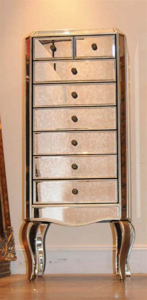 Mirrored Tall Dresser by Mirrored Chest Of Drawers Tall Boy Commode Ebay