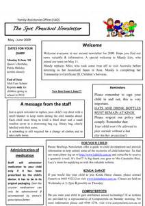 Sample Preschool Newsletter Template